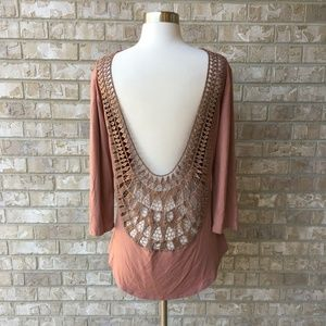 BKE Red Open Back Knit Crochet Mauve Top Small